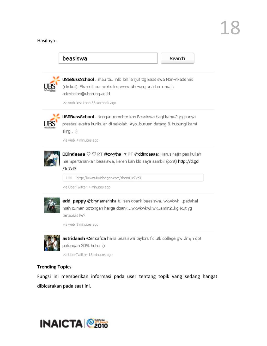 18 Hasilnya : Trending Topics Fungsi ini member...