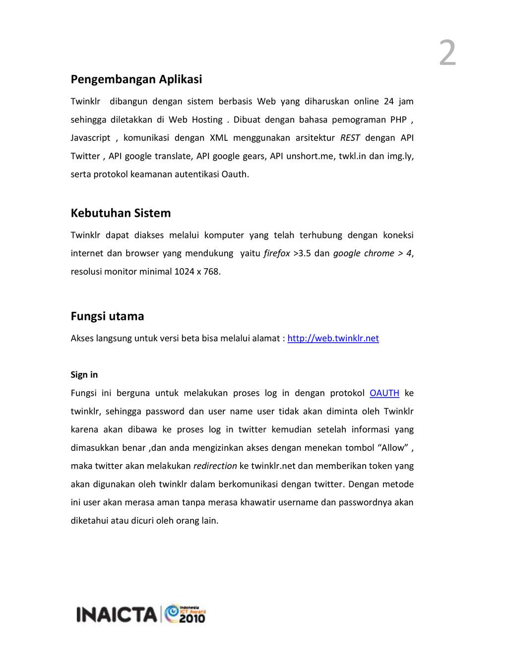 2 Pengembangan Aplikasi Twinklr dibangun dengan...