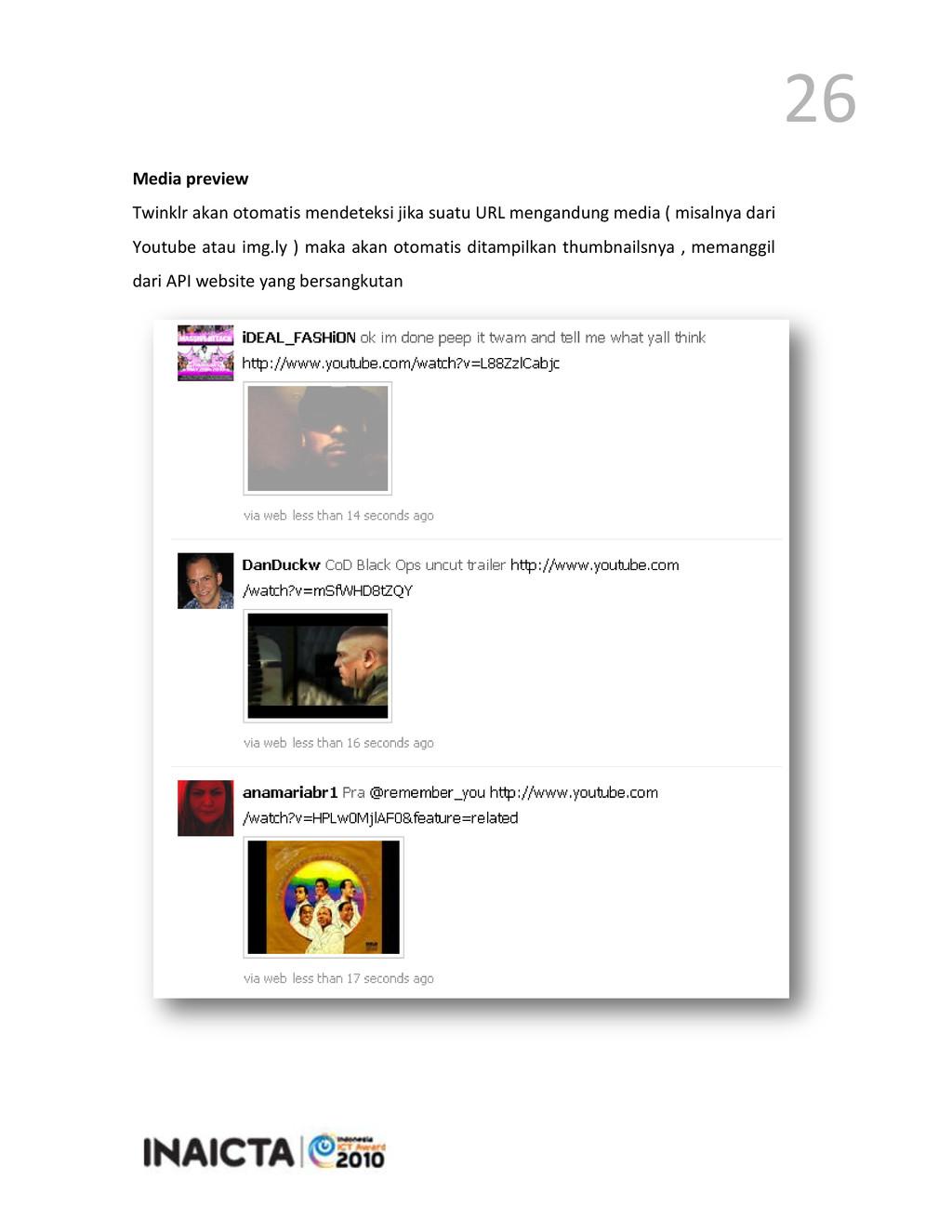 26 Media preview Twinklr akan otomatis mendetek...