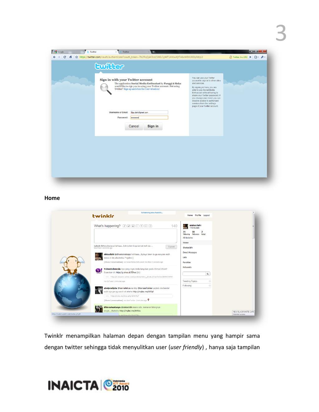 3 Home Twinklr menampilkan halaman depan dengan...