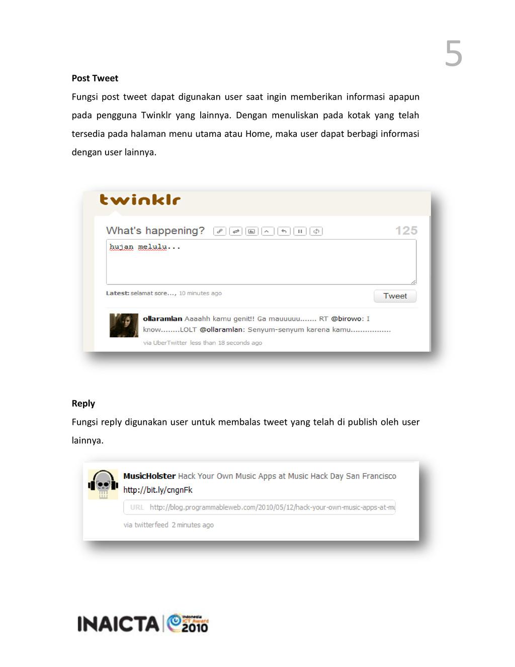 5 Post Tweet Fungsi post tweet dapat digunakan ...