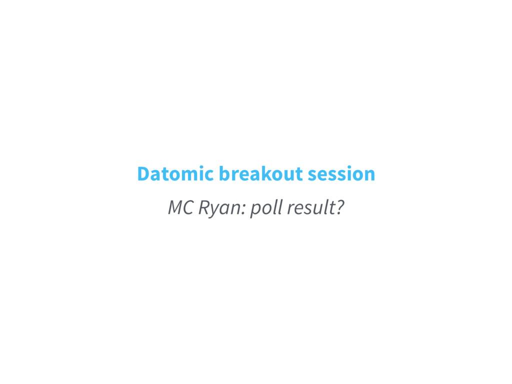 Datomic breakout session MC Ryan: poll result?
