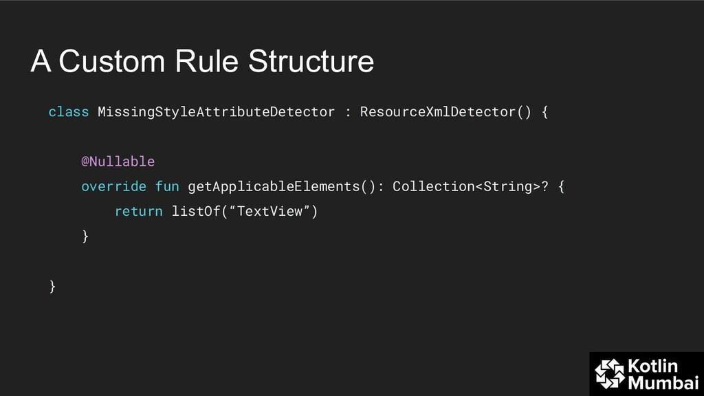A Custom Rule Structure class MissingStyleAttri...