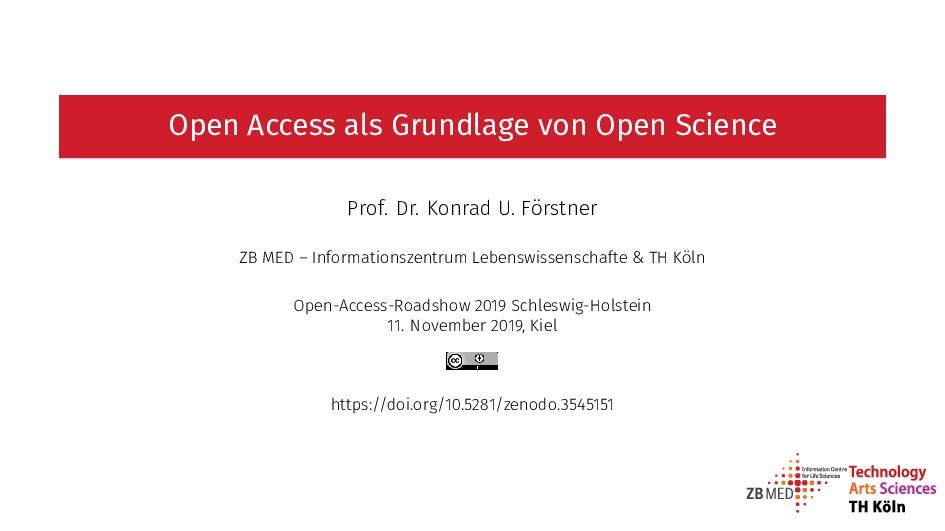 Open Access als Grundlage von Open Science Prof...