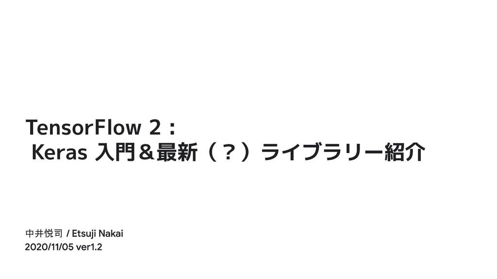 TensorFlow 2 : Keras 入門&最新(?)ライブラリー紹介 中井悦司