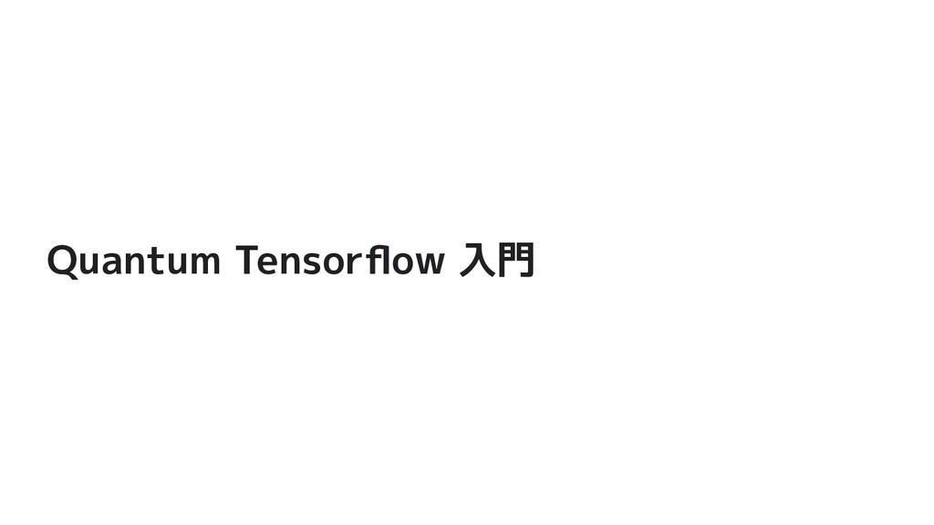 Quantum Tensorflow 入門