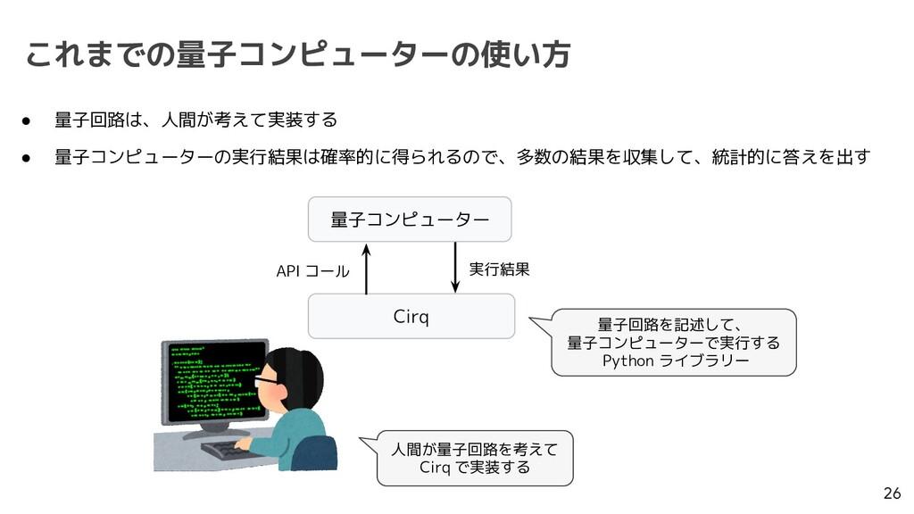これまでの量子コンピューターの使い方 26 Cirq 量子コンピューター API コール 実行...
