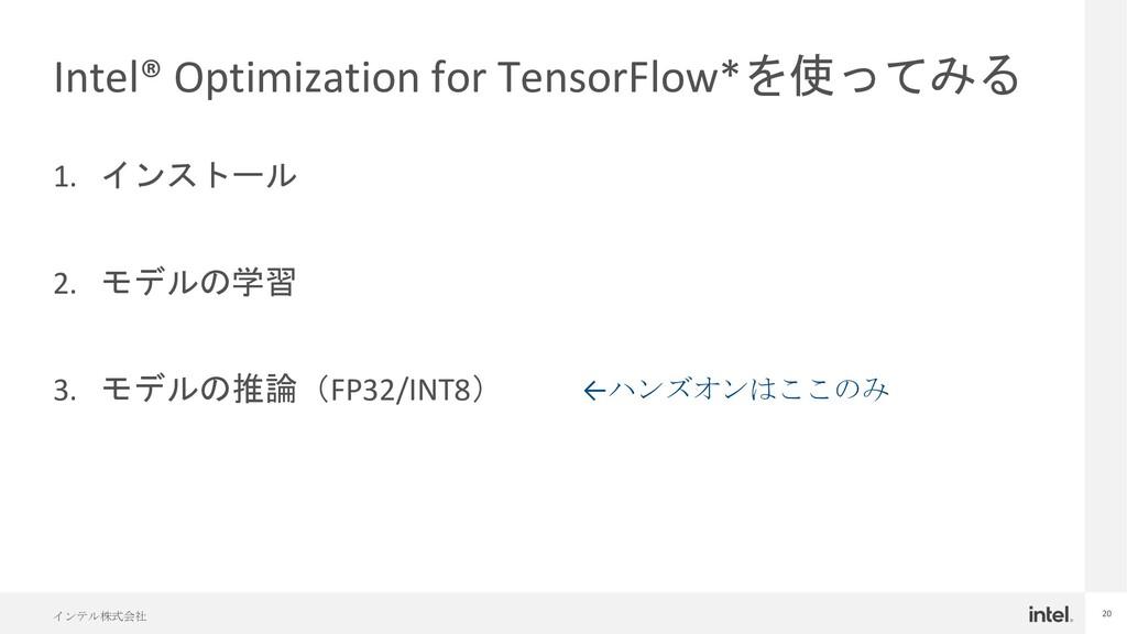 インテル株式会社 20 Intel® Optimization for TensorFlow*...
