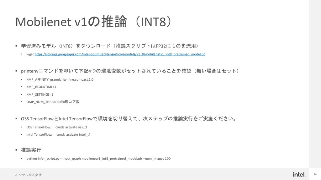 インテル株式会社 24 Mobilenet v1の推論(INT8) § 学習済みモデル(INT...