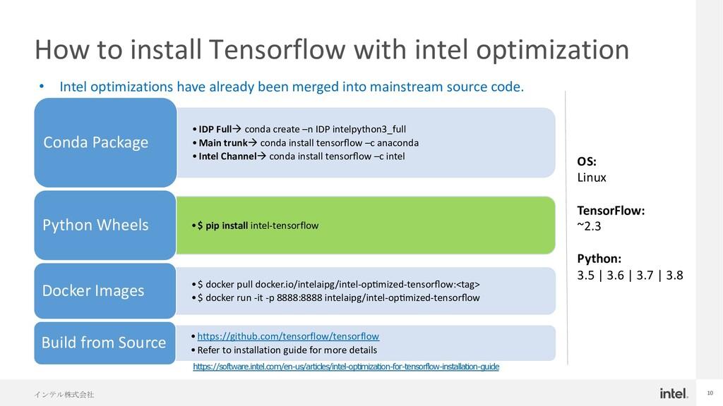 インテル株式会社 10 How to install Tensorflow with inte...