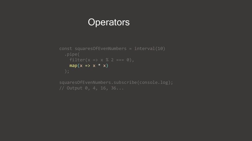 Operators const squaresOfEvenNumbers = interval...