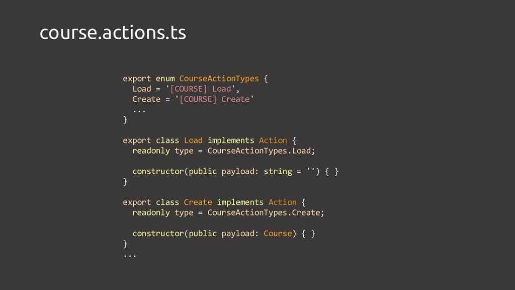 course.actions.ts export enum CourseActionTypes...