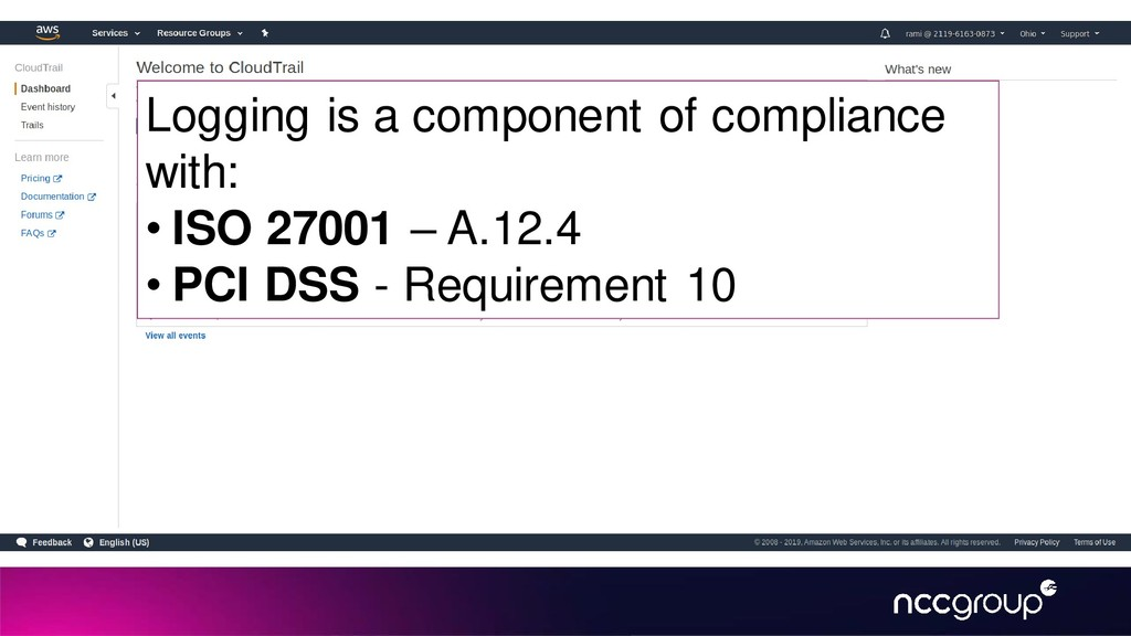 Logging is a component of compliance with: • IS...