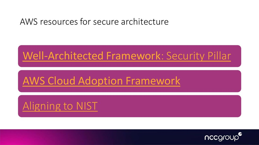 AWS resources for secure architecture Well-Arch...