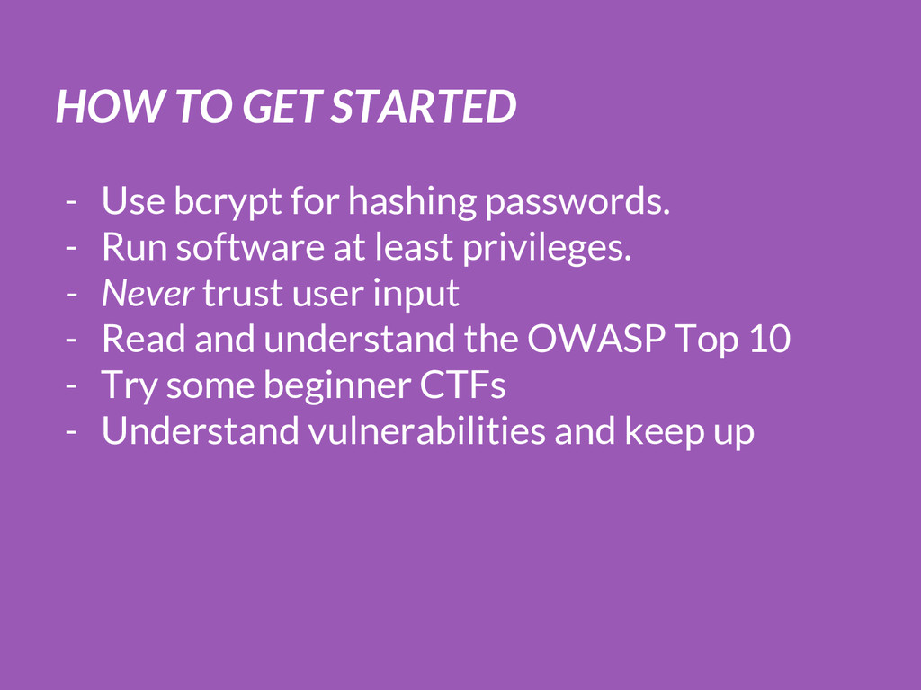 HOW TO GET STARTED - Use bcrypt for hashing pas...