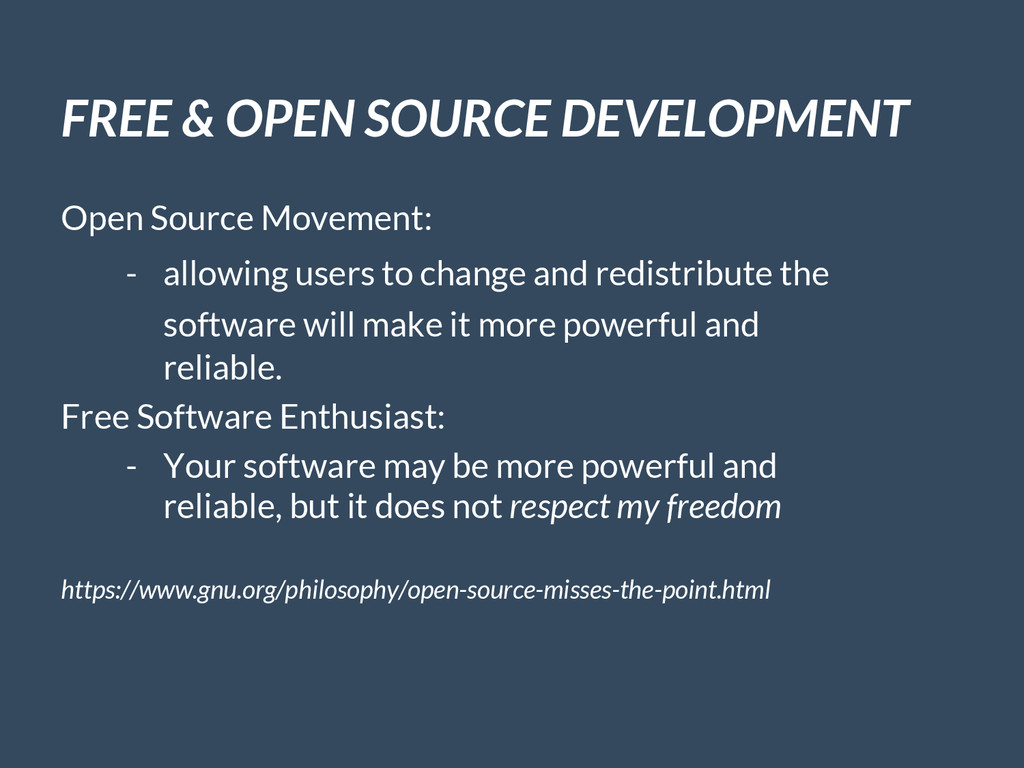 FREE & OPEN SOURCE DEVELOPMENT Open Source Move...