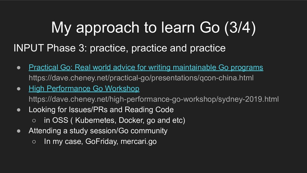 My approach to learn Go (3/4) INPUT Phase 3: pr...