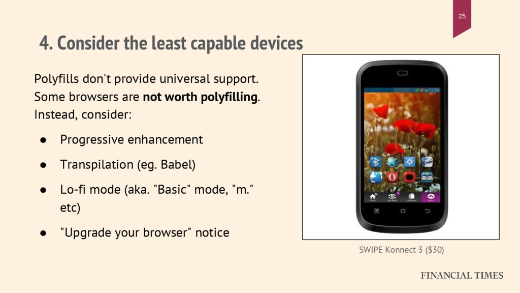 4. Consider the least capable devices Polyfills...