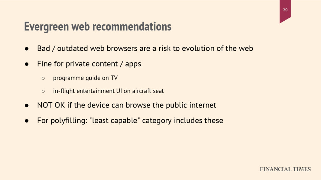 Evergreen web recommendations ● Bad / outdated ...
