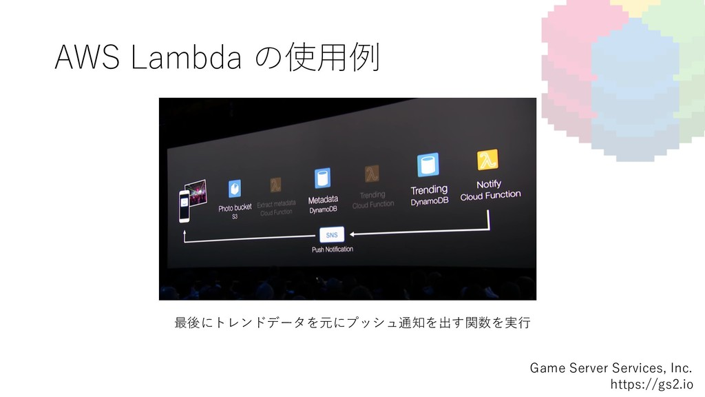 AWS Lambda の使⽤例 Game Server Services, Inc. http...