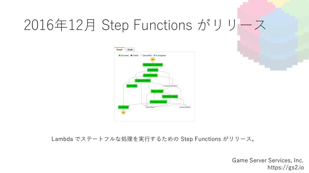 2016年12⽉ Step Functions がリリース Game Server Servi...