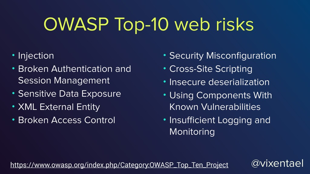 OWASP Top-10 web risks https://www.owasp.org/in...