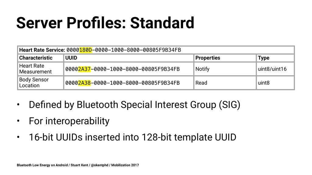 Server Profiles: Standard • Defined by Bluetooth ...
