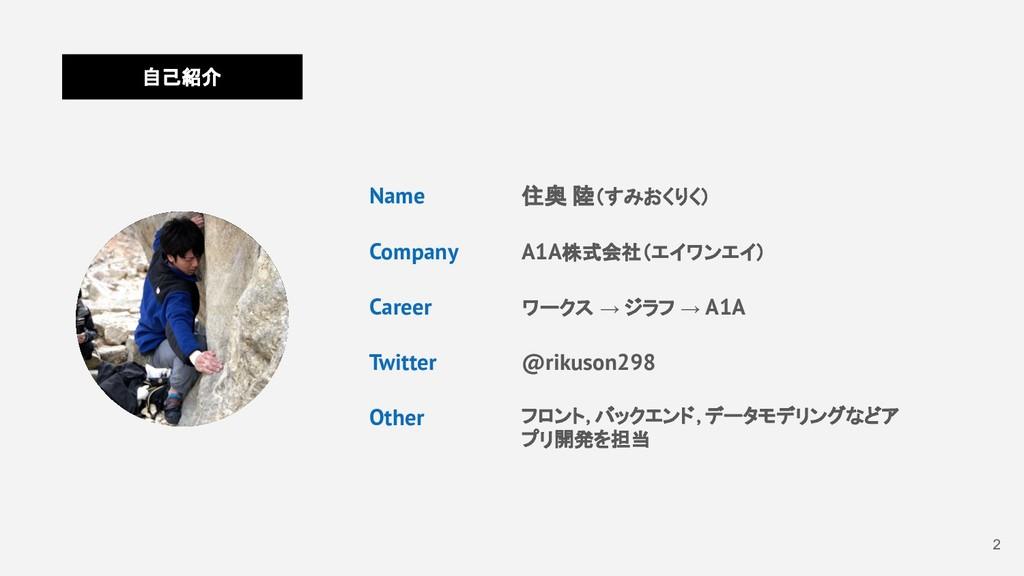 2 自己紹介 Name Company Career Twitter Other 住奥 陸(す...