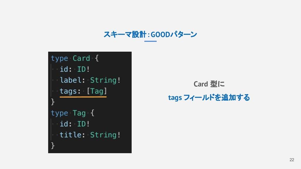 22 スキーマ設計:GOODパターン Card 型に tags フィールドを追加する