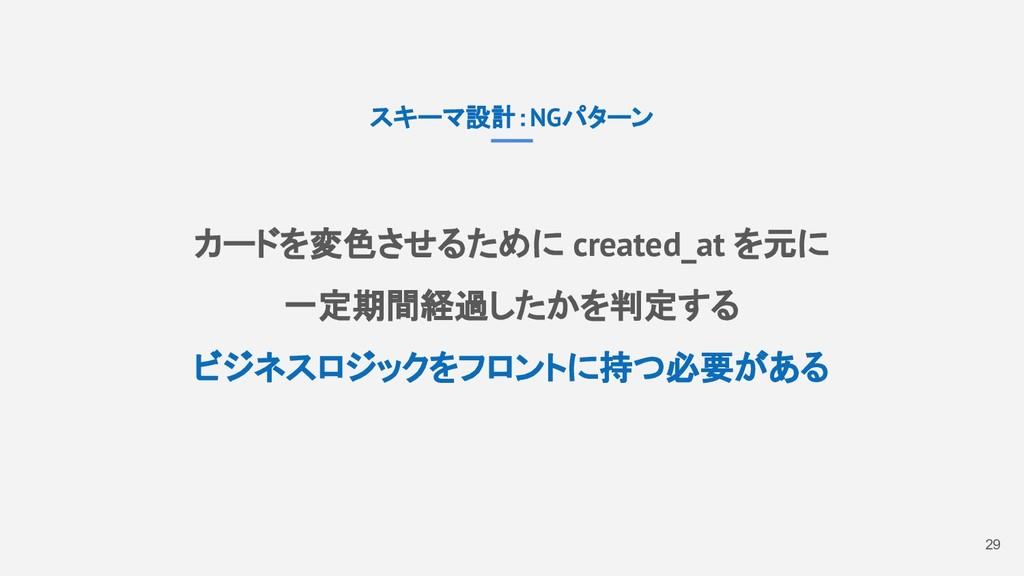 29 スキーマ設計:NGパターン カードを変色させるために created_at を元に 一定...
