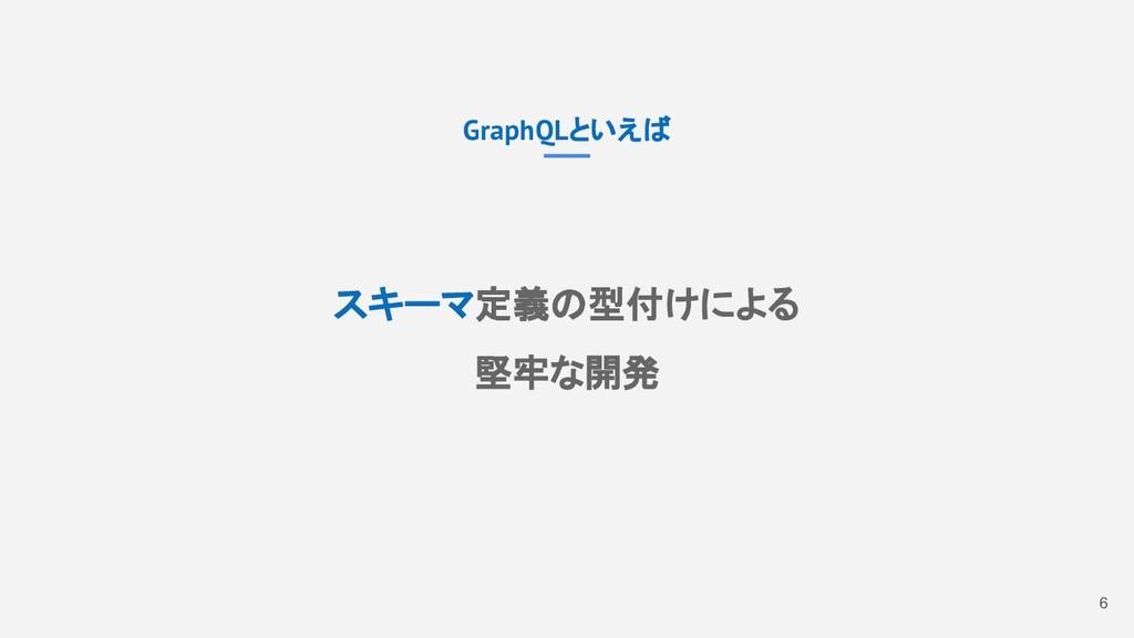 6 GraphQLといえば スキーマ定義の型付けによる 堅牢な開発