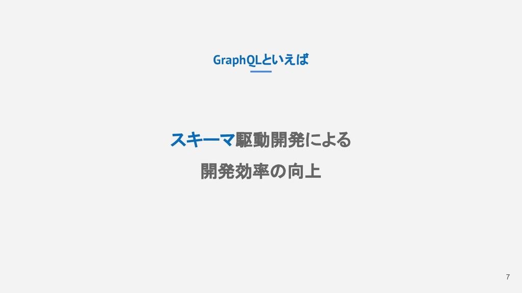 7 GraphQLといえば スキーマ駆動開発による 開発効率の向上