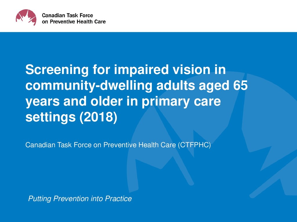 Putting Prevention into Practice Screening for ...