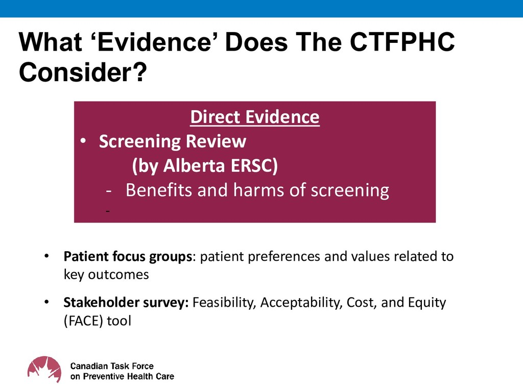 What 'Evidence' Does The CTFPHC Consider? 11 Di...