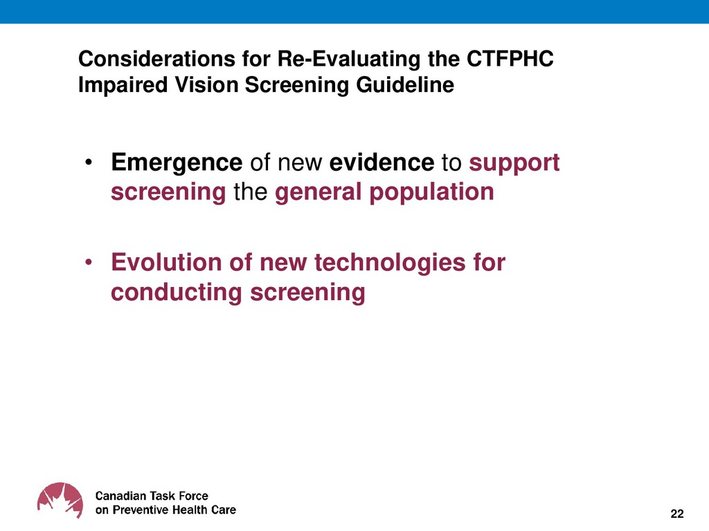 Considerations for Re-Evaluating the CTFPHC Imp...