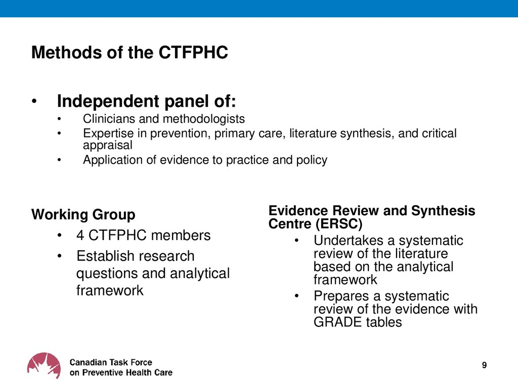 Methods of the CTFPHC • Independent panel of: •...