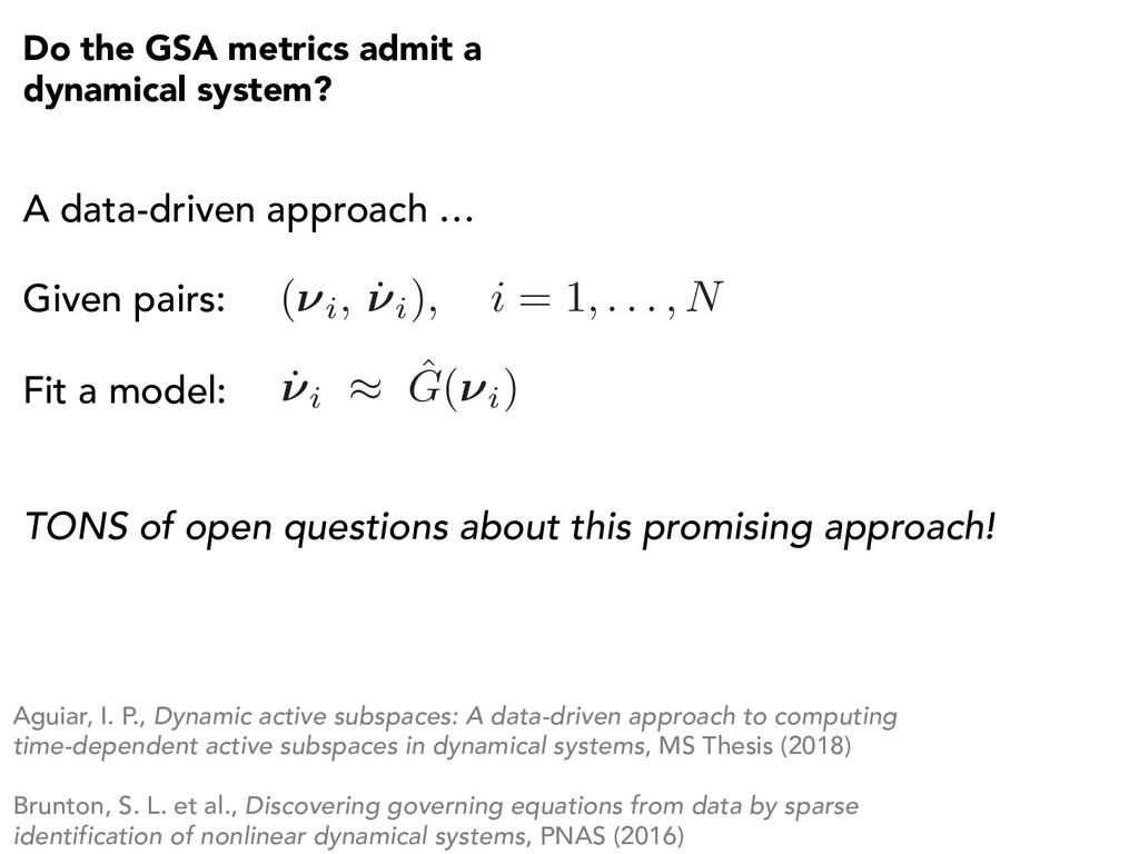 Do the GSA metrics admit a dynamical system? A ...