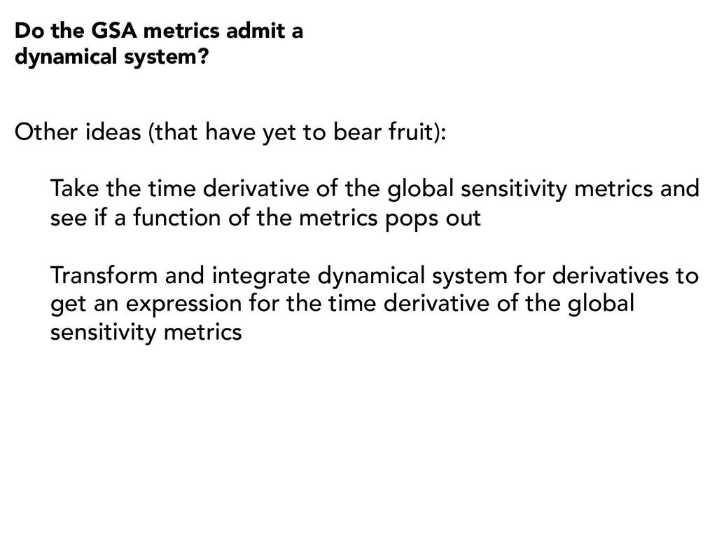 Do the GSA metrics admit a dynamical system? Ot...