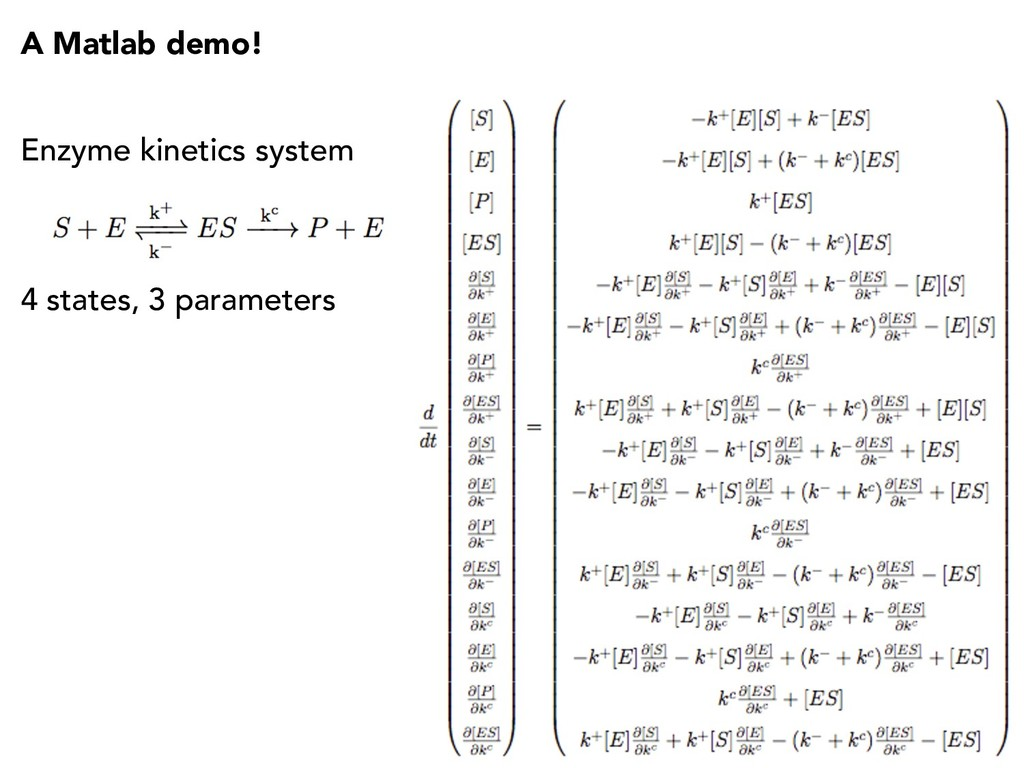 A Matlab demo! Enzyme kinetics system 4 states,...