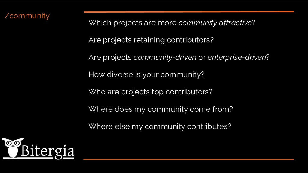 /community Which projects are more community at...