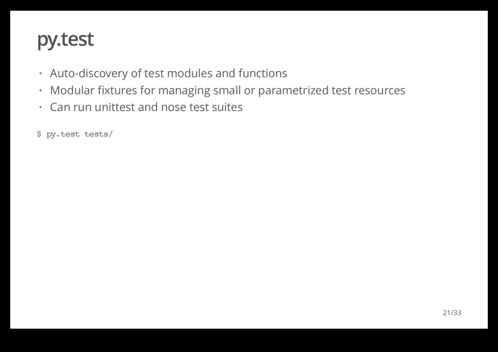 py.test Auto-discovery of test modules and func...