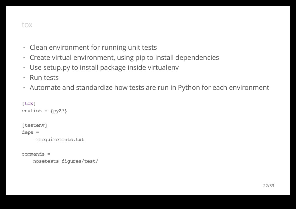 tox Clean environment for running unit tests Cr...