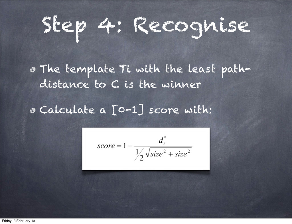 Step 4: Recognise The template Ti with the leas...