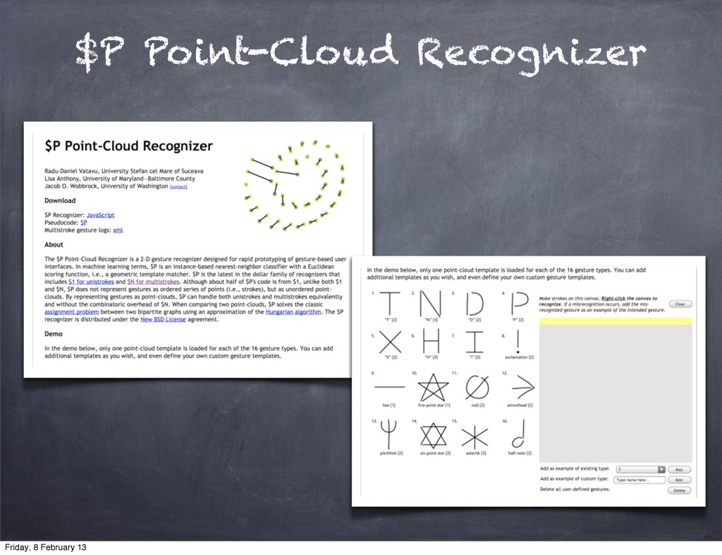 $P Point-Cloud Recognizer Friday, 8 February 13
