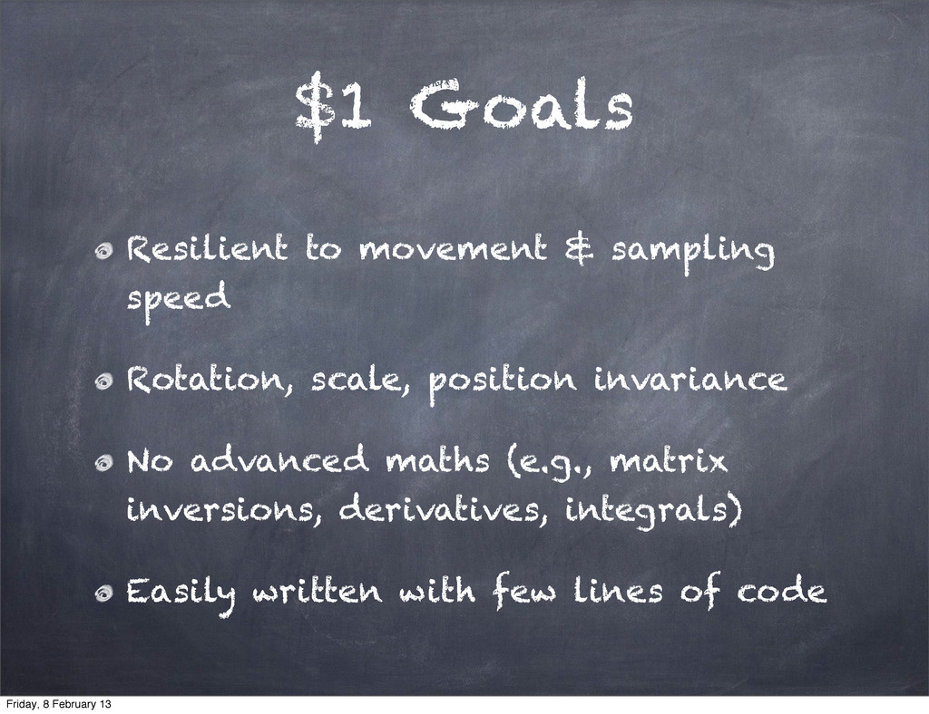 $1 Goals Resilient to movement & sampling speed...