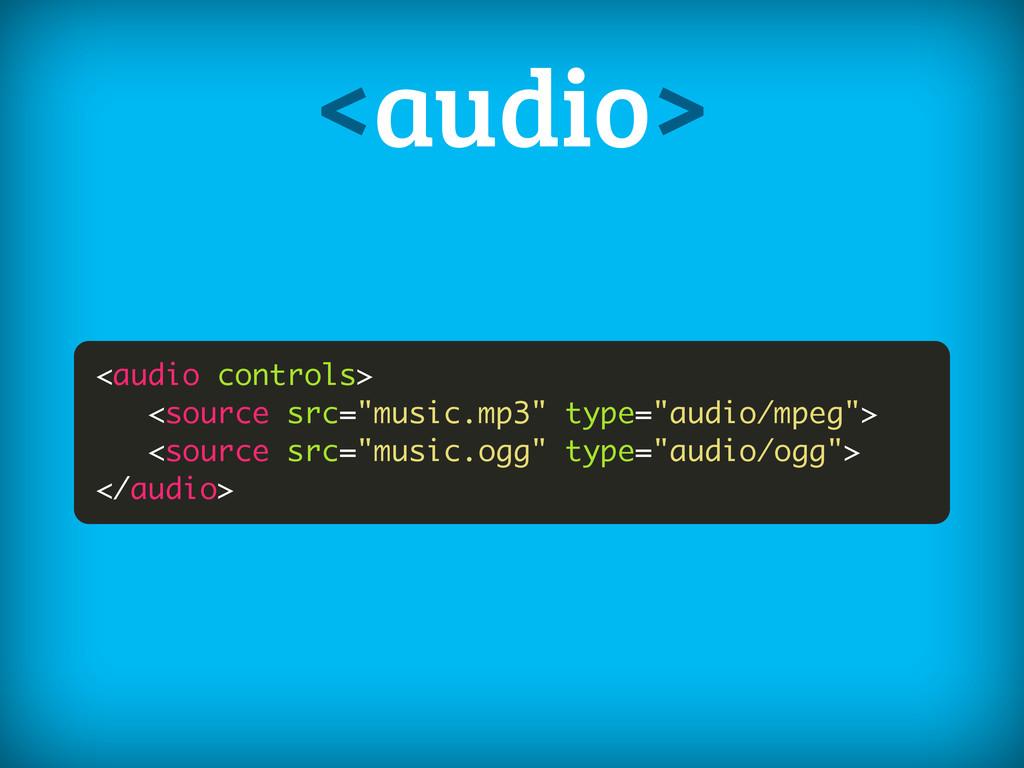 "<audio controls> <source src=""music.mp3"" type=""..."