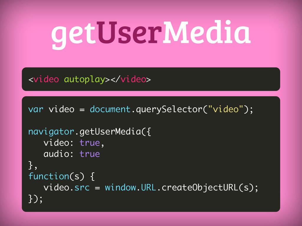 <video autoplay></video> getUserMedia var video...