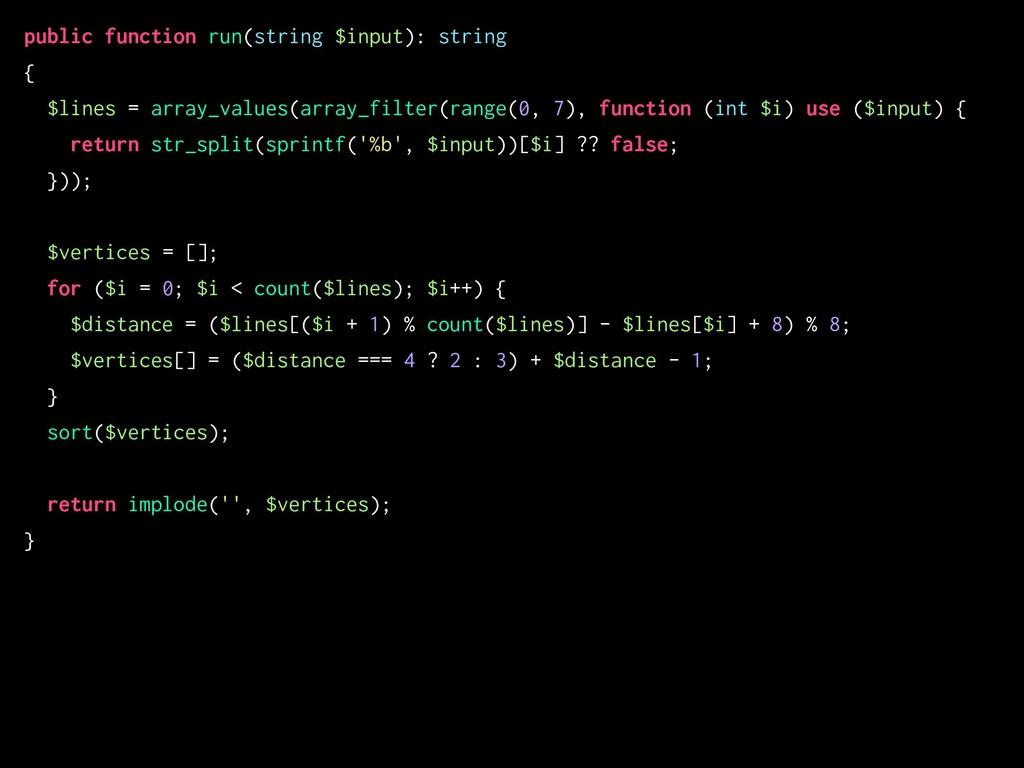 public function run(string $input): string { $l...