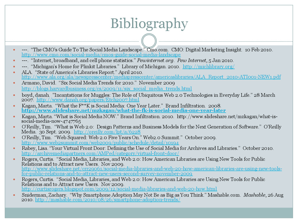 """Bibliography — ---. """"The CMO's Guide To The S..."""