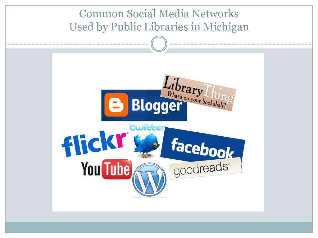Common Social Media Networks Used by Public Lib...